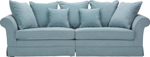 MEGASOFA in Textil Hellblau - Dunkelbraun/Hellblau, Trend, Holz/Textil (264/70/111cm) - Ambia Home