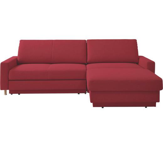 WOHNLANDSCHAFT in Textil Rot  - Rot/Naturfarben, KONVENTIONELL, Holz/Textil (250/158cm) - Venda