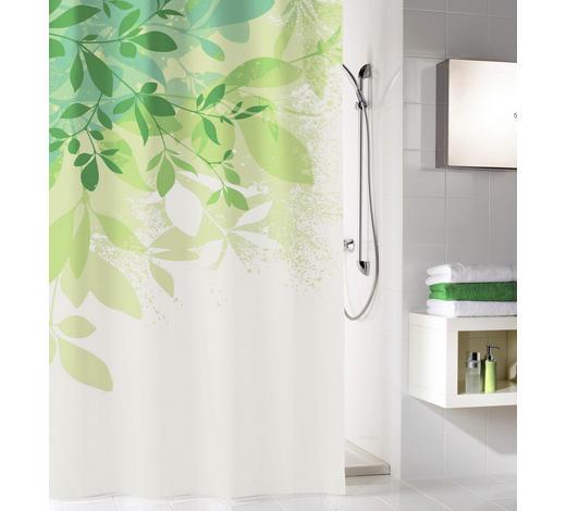 DUSCHVORHANG - Weiß/Grün, KONVENTIONELL, Textil (180/200cm) - Kleine Wolke