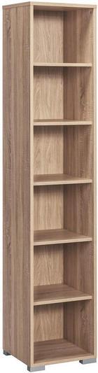 PISARNIŠKI REGAL  hrast - hrast/srebrna, Design, umetna masa/leseni material (42/215/40cm) - VOLEO