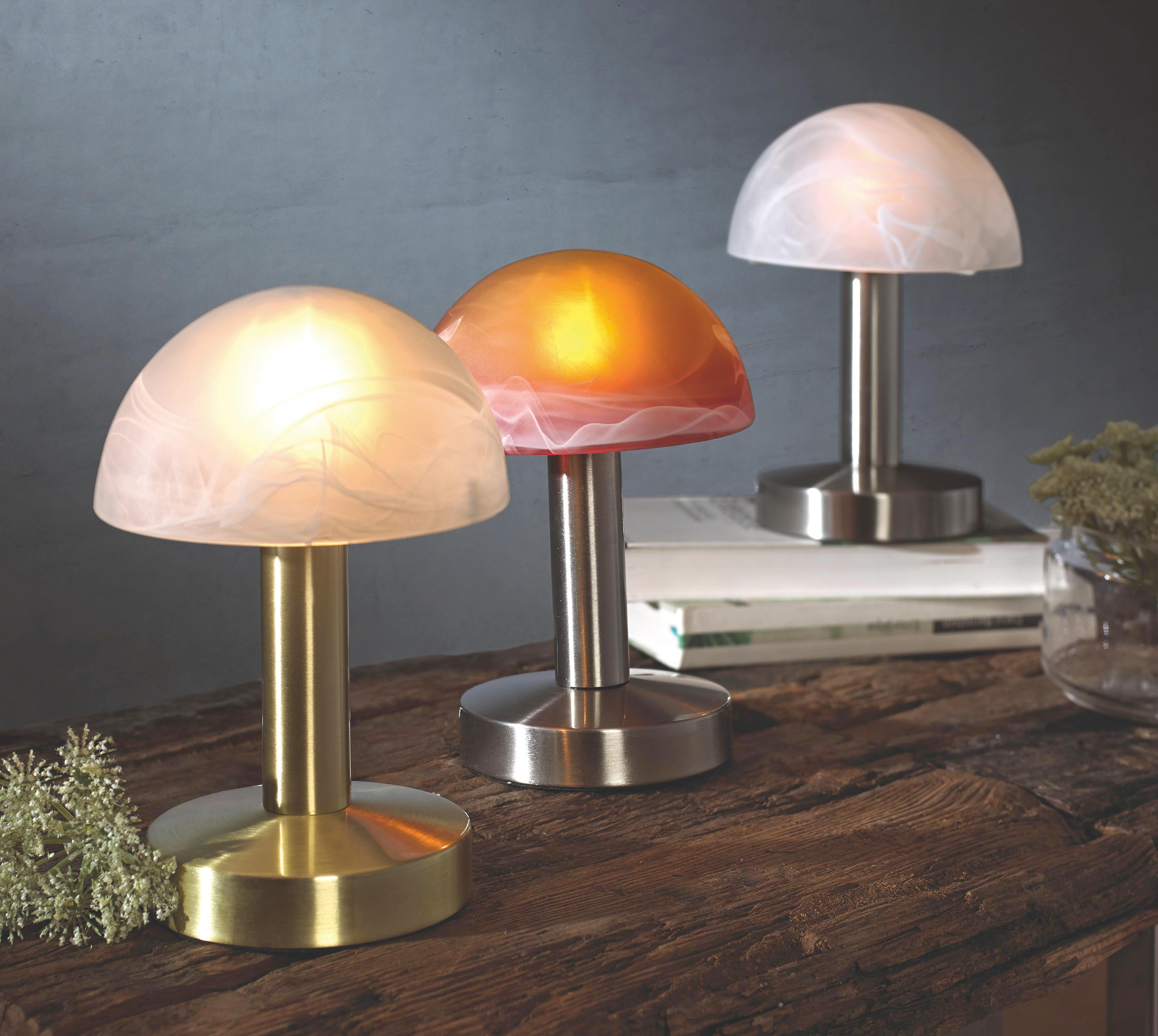 TISCHLEUCHTE - Weiß/Nickelfarben, KONVENTIONELL, Glas/Metall (21cm)