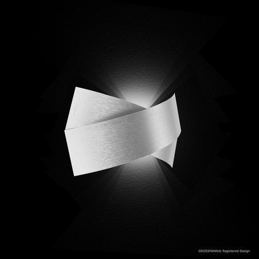 LED-WANDLEUCHTE - Alufarben, Design, Metall (37,5/19,0/7,5cm)