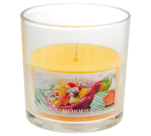 KERZE IM GLAS - Transparent/Orange, Basics, Glas (10/10cm) - Ambia Home