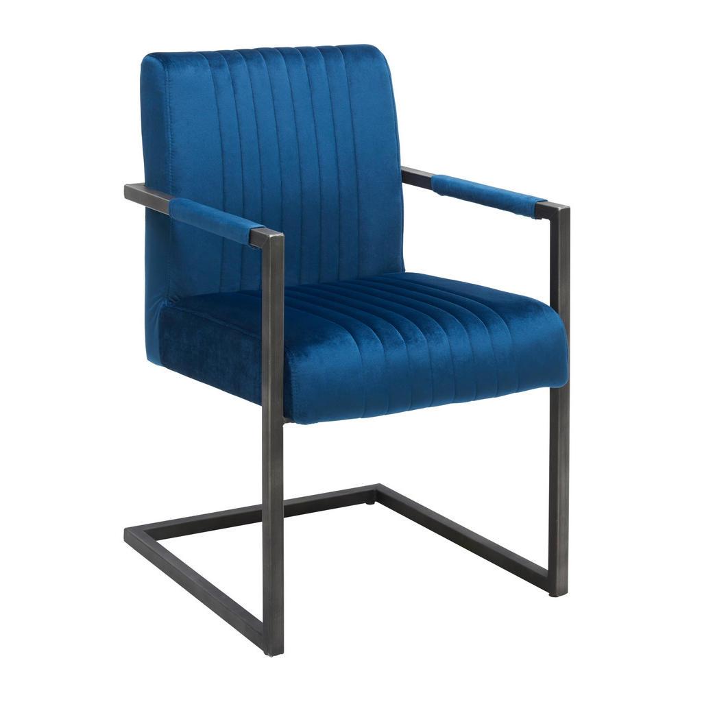 Image of Ambia Home Armlehnstuhl in blau, schwarz , Elara , Metall, Textil , 54x91x64 cm , antik,Samt , Stoffauswahl , 002731000904