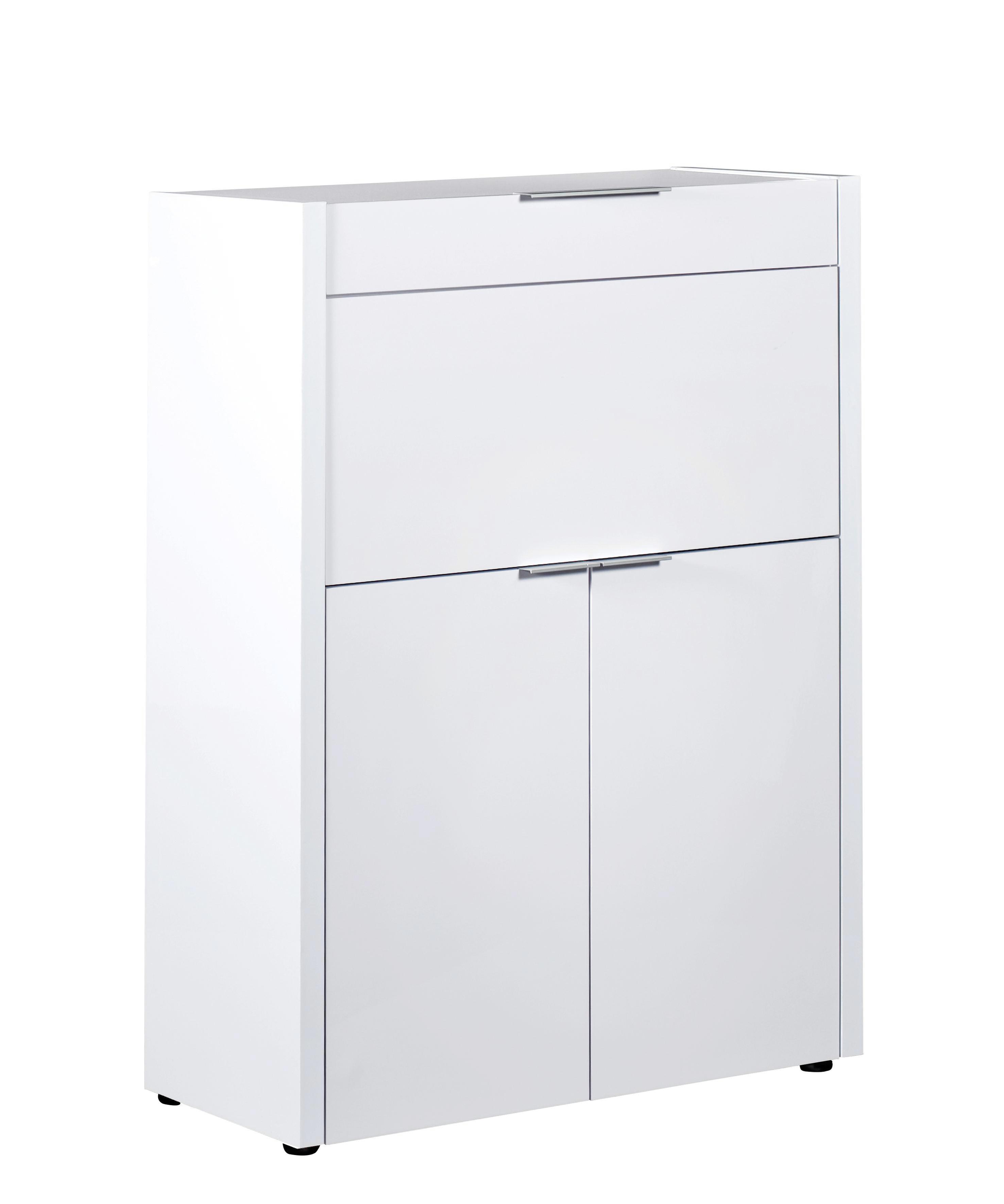 SEKRETÄR Weiß - Alufarben/Schwarz, Design, Kunststoff (85/123/39cm)