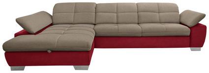 WOHNLANDSCHAFT in Textil Rot, Taupe - Taupe/Chromfarben, Design, Textil/Metall (204/297cm) - Xora