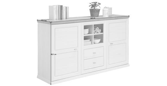 SIDEBOARD 160/88,3/42,5 cm - Weiß/Grau, LIFESTYLE, Holzwerkstoff/Metall (160/88,3/42,5cm) - Hom`in