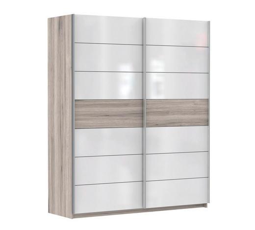 SCHWEBETÜRENSCHRANK 2-türig Weiß, Eichefarben  - Eichefarben/Weinrot, Basics, Holzwerkstoff (170/210/61cm) - Carryhome