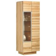 VITRINE Wildeiche massiv, mehrschichtige Massivholzplatte (Tischlerplatte) Eichefarben  - Eichefarben, Design, Glas/Holz (64/202/42.5cm) - Voglauer
