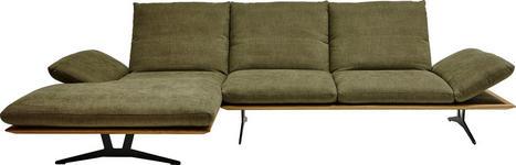 Ecksofa Grün Flachgewebe - Schwarz/Grün, Design, Textil/Metall (159/314cm) - Dieter Knoll