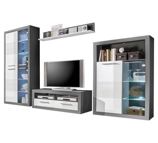OBÝVACÍ STĚNA, šedá, bílá - šedá/bílá, Design, dřevo/kompozitní dřevo (304/194/37cm)