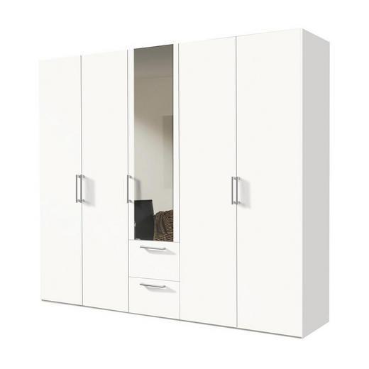 DREHTÜRENSCHRANK 5-türig Weiß - Alufarben/Weiß, KONVENTIONELL, Glas/Holzwerkstoff (250/216/58cm) - Hom`in