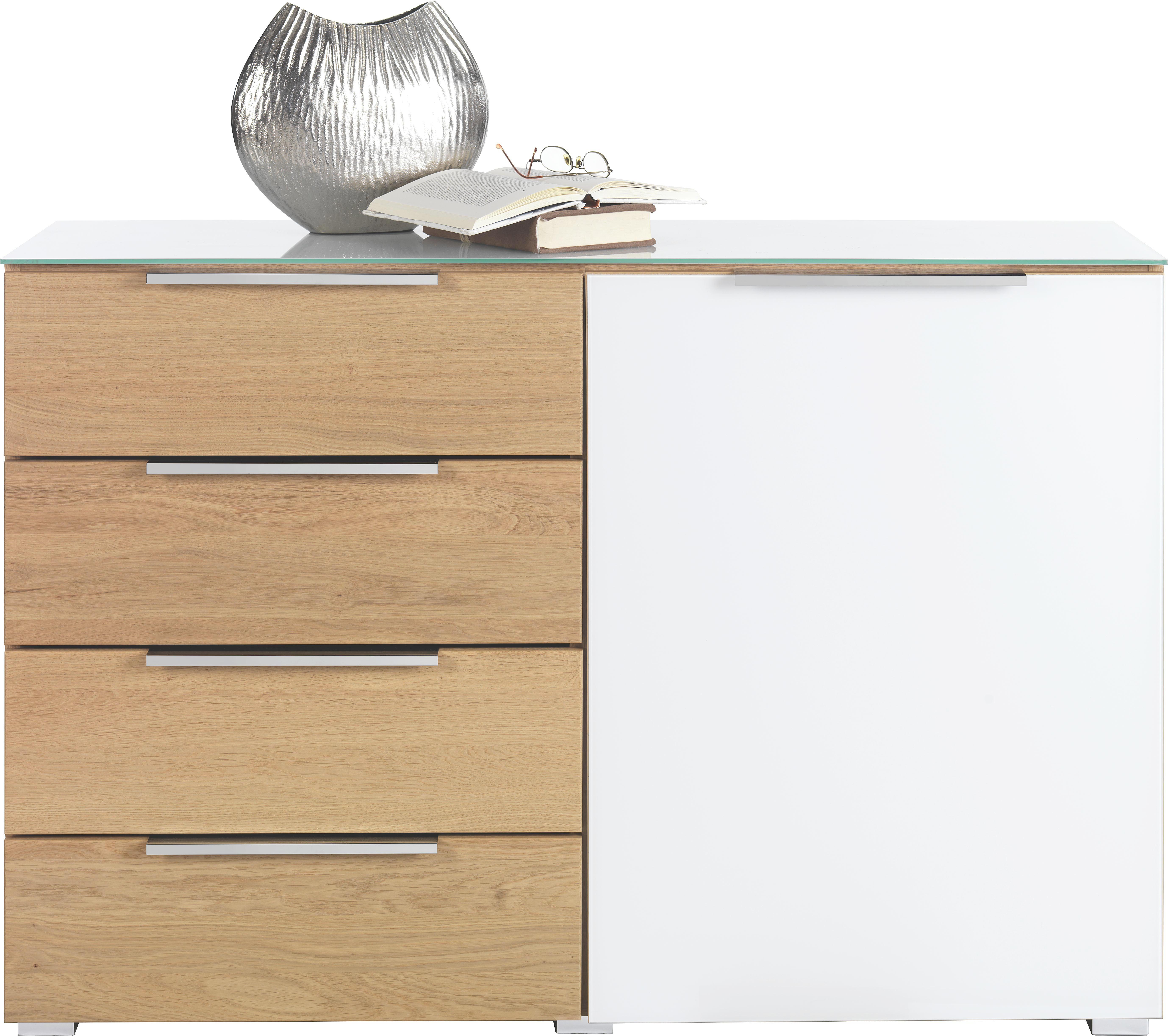 KOMMODE Wildeiche teilmassiv Eichefarben, Weiß - Chromfarben/Eichefarben, Design, Glas/Holz (121/84/41cm) - NOVEL