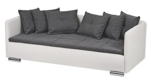 SOFA Grau, Weiß - Chromfarben/Weiß, Design, Textil/Metall (90/200cm) - Esposa