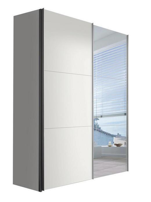 SCHWEBETÜRENSCHRANK 2  -türig Weiß - Alufarben/Weiß, KONVENTIONELL, Glas/Holzwerkstoff (150/216/68cm) - Hom`in