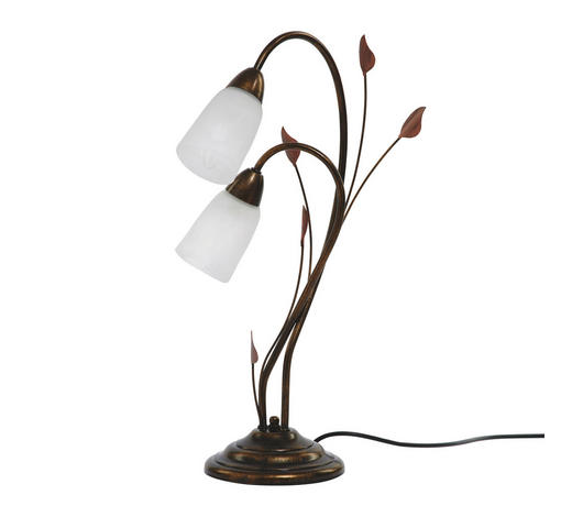TISCHLEUCHTE - Braun, LIFESTYLE, Glas/Metall (21/55cm)