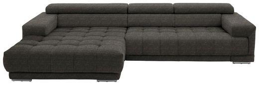 WOHNLANDSCHAFT in Textil Dunkelbraun - Dunkelbraun/Silberfarben, Design, Textil/Metall (190/335cm) - Beldomo Style
