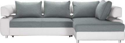 WOHNLANDSCHAFT in Textil Weiß, Mintgrün  - Chromfarben/Weiß, Design, Kunststoff/Textil (270/190cm) - Carryhome