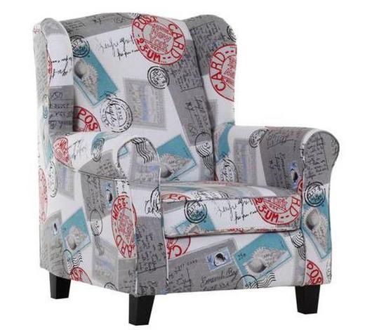 FOTELJA tekstil  plava, siva, višebojno, crvena, crna, bijela   - tamno smeđa/bijela, Design, tekstil/drvo (82/101/45/85cm) - Hom`in