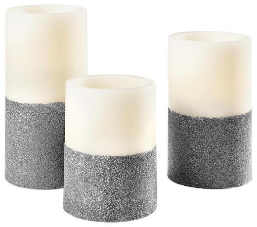 LED-KERZENSET - Silberfarben/Naturfarben, Kunststoff (8cm)