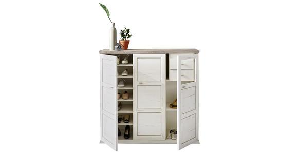 SCHUHSCHRANK Grau, Weiß  - Weiß/Grau, LIFESTYLE, Holzwerkstoff/Kunststoff (133,4/123,2/42,5cm) - Hom`in