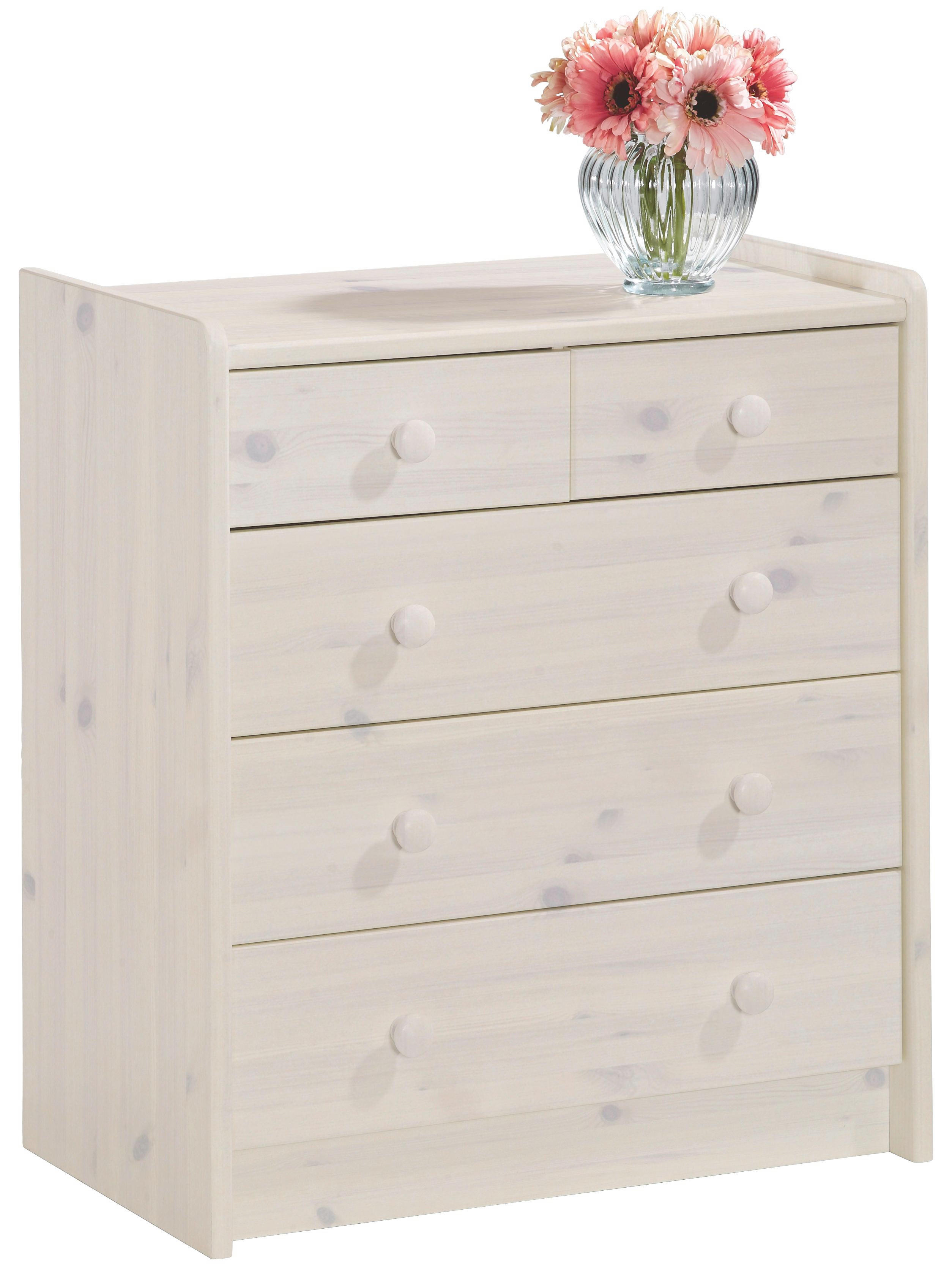 KOMMODE Kiefer massiv Weiß - Weiß, Design, Holz (64/72/38cm) - CARRYHOME
