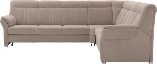 WOHNLANDSCHAFT beflockt, Velours - Beige/Silberfarben, KONVENTIONELL, Textil/Metall (306/248cm) - Beldomo Comfort