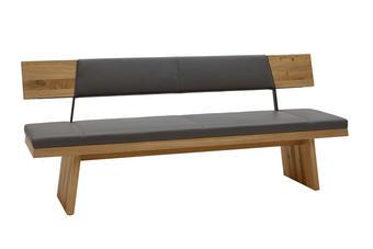SEDACÍ LAVICE, dřevěný materiál, dřevo, kov, kůže, barvy dubu, šedá - šedá/barvy dubu, Natur, kov/dřevo (207/90/57cm) - Voglauer