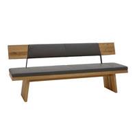 Sitzbank in Holz, Leder Eichefarben - Eichefarben, Natur, Leder/Holz (187/90/57cm) - Voglauer