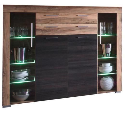 HIGHBOARD Nussbaumfarben, Dunkelbraun - Dunkelbraun/Nussbaumfarben, Design, Glas/Holzwerkstoff (160/137/40cm) - Carryhome