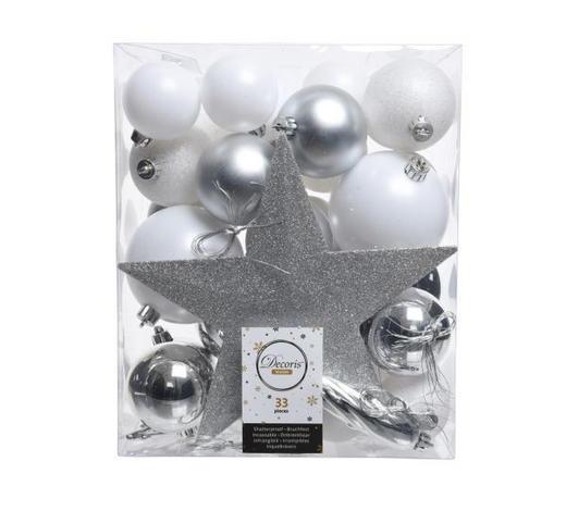 CHRISTBAUMKUGEL-SET 33-teilig Silberfarben, Weiß  - Silberfarben/Weiß, Kunststoff - X-Mas