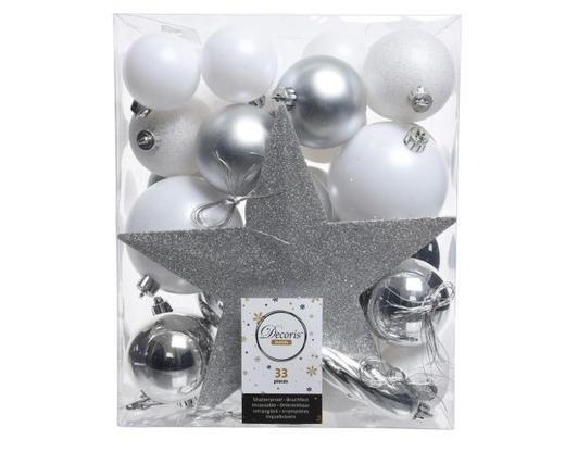CHRISTBAUMKUGEL-SET  33-teilig Silberfarben, Weiß - Silberfarben/Weiß, Kunststoff