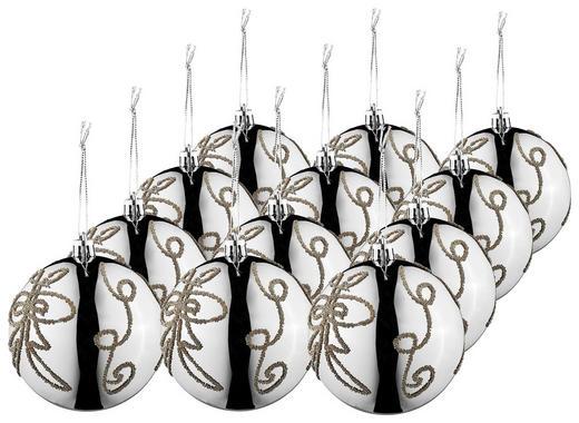 CHRISTBAUMKUGEL-SET  12-teilig Grau - Grau, Basics, Kunststoff (8cm)