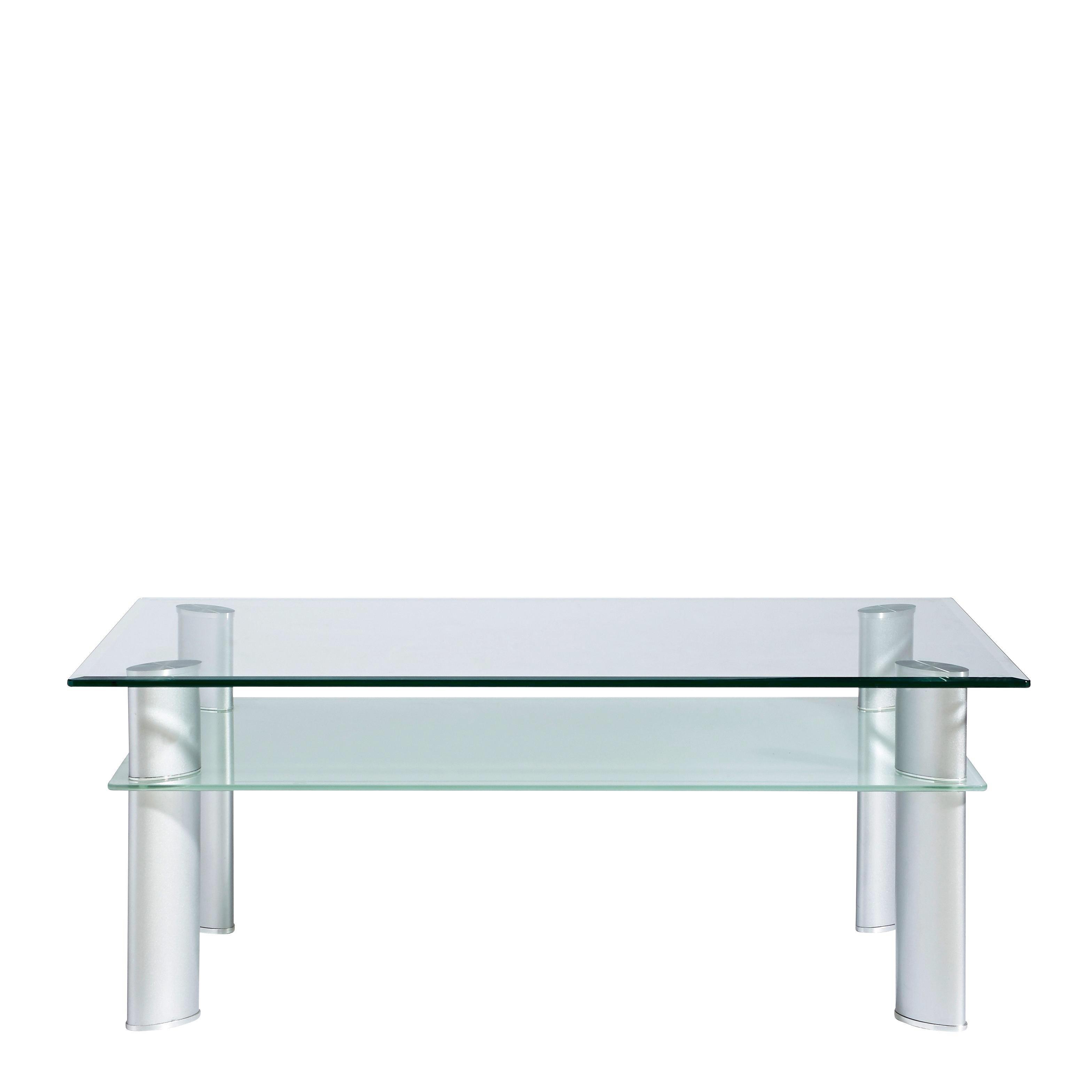COUCHTISCH in 110/43/65 cm Chromfarben, Transparent - Chromfarben/Transparent, KONVENTIONELL, Glas/Metall (110/43/65cm) - XORA