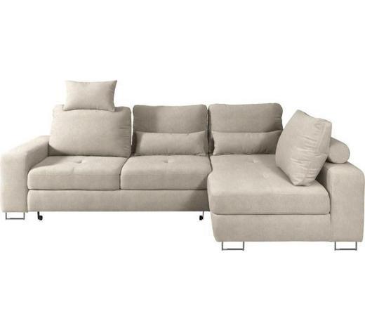 WOHNLANDSCHAFT in Textil Naturfarben, Beige - Beige/Naturfarben, Design, Textil/Metall (260/188cm) - Hom`in
