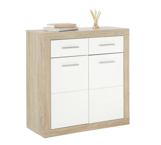 KOMMODE 82/88/37 cm - Eichefarben/Silberfarben, Design, Holz/Holzwerkstoff (82/88/37cm) - Boxxx