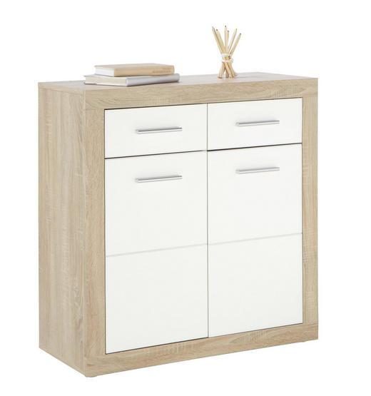 KOMMODE Eichefarben, Weiß - Eichefarben/Silberfarben, Design, Holz/Kunststoff (82/88/37cm) - Boxxx
