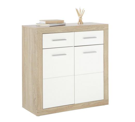 KOMMODE Weiß, Eichefarben - Eichefarben/Silberfarben, Design, Holz/Kunststoff (82/88/37cm) - Boxxx