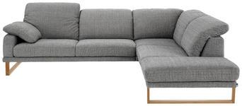 WOHNLANDSCHAFT Grau Rücken echt - Eichefarben/Grau, Design, Holz/Textil (281/226cm) - Valnatura