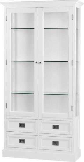 VITRINSKÅP - vit/nickelfärgad, Lifestyle, metall/glas (103/200/40cm) - Rowico