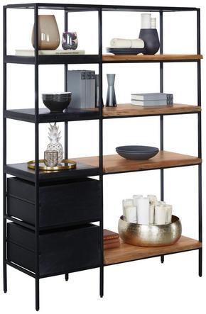 HYLLA - svart/akaciefärgad, Trend, metall/trä (105/152/35cm) - Ambia Home
