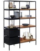 REGÁL, akácie, mangové dřevo, masivní, černá, barvy akácie - černá/barvy akácie, Trend, kov/dřevo (105/152/35cm) - Ambia Home
