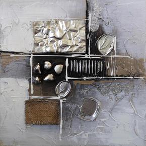 OLJEMÅLNING - brun/silver, Design, metall/trä (30/30cm) - Monee