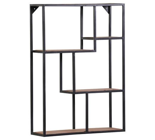 WANDREGAL Akazie massiv Schwarz, Akaziefarben  - Schwarz/Akaziefarben, Design, Holz/Metall (65/90/20cm) - Carryhome