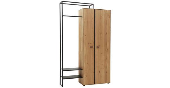 GARDEROBENSCHRANK 128,9/210,3/37 cm  - Dunkelgrau/Eichefarben, Natur, Holz/Metall (128,9/210,3/37cm) - Valnatura