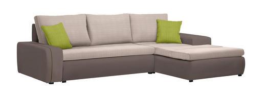 WOHNLANDSCHAFT in Textil Braun, Grün, Hellbraun - Hellbraun/Schwarz, Design, Kunststoff/Textil (280/185cm) - Carryhome