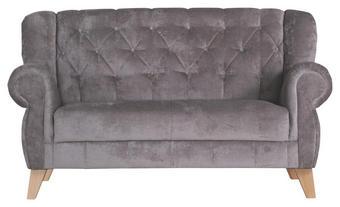 Dvosed,  odtenki umazano rjave tekstil - odtenki umazano rjave/hrast, Trend, tekstil/les (172/99/82cm) - Carryhome