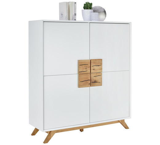 KOMODA, dub, bílá, barvy dubu - bílá/barvy dubu, Design, dřevo/kompozitní dřevo (120/133/40cm) - Xora
