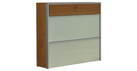 SCHUHSCHRANK Weiß, Eichefarben, Alufarben  - Eichefarben/Alufarben, Design, Glas/Metall (102/98/34cm) - Dieter Knoll