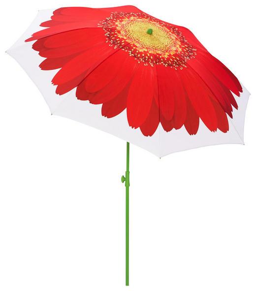 SONNENSCHIRM - Rot/Weiß, Basics, Textil/Metall (200cm)